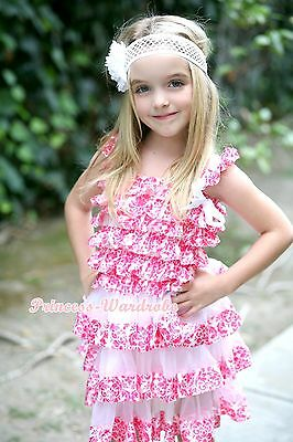 Hot Pink Damask White Bow Cap Sleeve Kids Girl One Piece Party Dress 1-10Y