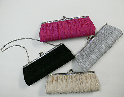 New Small Satin Pleated Wedding/Bridal/Evening Clutch Bag Rhinestone Accented