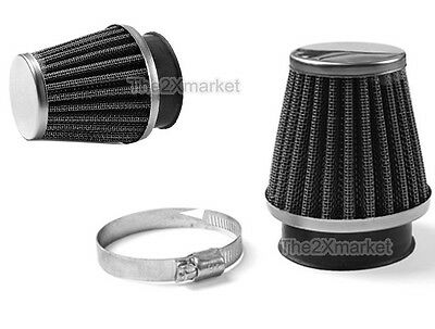 New 2 X Chrom Air Filter 52mm replacement Part Fit Motorcycle Cone Power Scooter