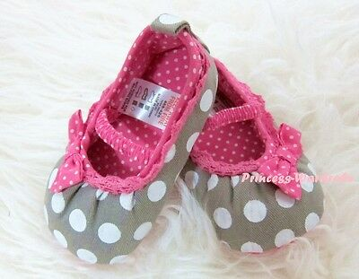 Toddler Girl Grey White Polka Dot Infant Baby Crib Shoe with Hot Pink Bow 0-18M