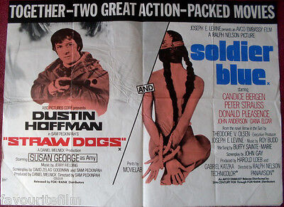 Cinema Poster: STRAW DOGS/SOLDIER BLUE 1970s (Double Bill Quad) Dustin Hoffman