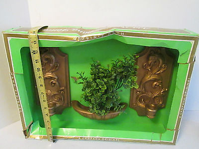 Vintage / Antique CAMAPANA 1960s/70 Wall Scones Candle Holders Faux Greenery MIB