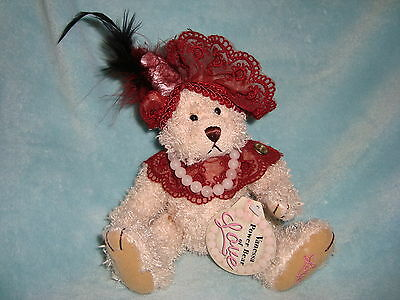 "Year 2000 Brass Button Bear Vanessa Power Bear Of LOVE 12"" W/Tags"