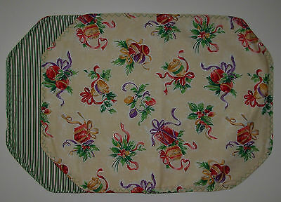 "4 PLACEMATS -  CHRISTMAS BELLS AND PRESENTS - 13"" x 18"""