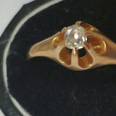Vintage 1800's Antique Old European Cut Diamond Belcher Ring 14K Victorian