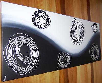 Original Abstract Canvas Painting Black,silver,white