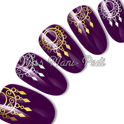 Silver or Gold Nail Decals, Nail Stickers, Water Decals, Tribal Jewellery C072