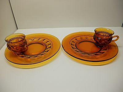 Vintage  Indiana Glass Amber King's Crown Thumbprint Luncheon Snack Sets