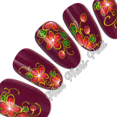 Nail Art Water Transfers Wraps Decals Red Gold Tropical Flowers Floral H040