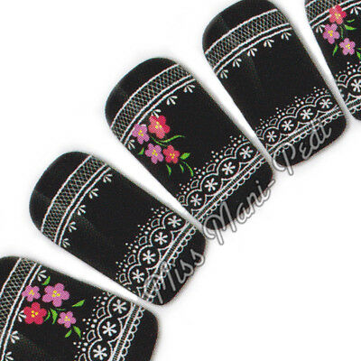 Nail Art Water Transfers Stickers Wraps Decals White Lace Flowers Chic S051