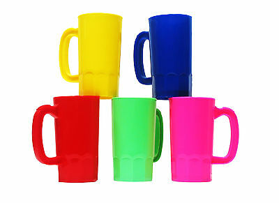 10 Small 14 Oz Kid's Plastic Mugs 2 ea Yellow Pink Red Lime Blue  Made in USA*