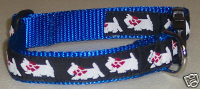 Westie Collar Blue Traditional Free Ship Usa