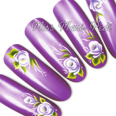 Nail Art Water Transfers Wraps Decals Lilac Tropical Flowers Floral G034B