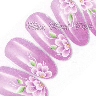 Nail Art Water Transfers Wraps Decals Large Lilac Tropical Flowers Floral G059
