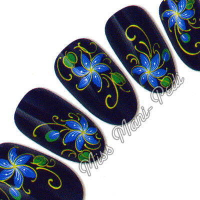 Nail Art Water Transfers Wraps Decals Blue Tropical Flowers Leaves Floral  H041