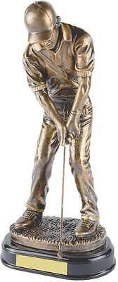 Antique Gold Resin Male Golfer 5 Sizes FREE ENGRAVING