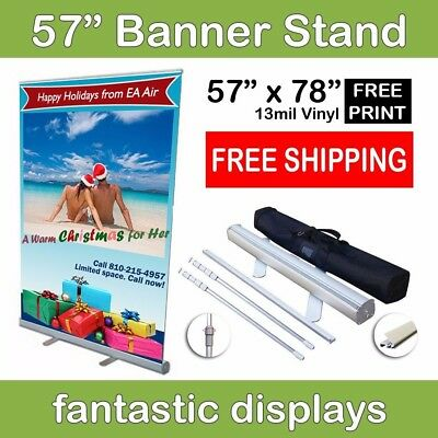 "57"" Retractable Roll Up Banner Stand with Print Included for Trade Show Booths"