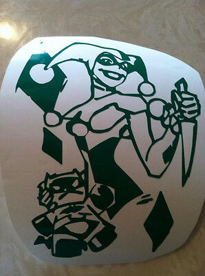 "HARLEY QUINN VINYL DECAL 8""  WHITE BATMAN KNIFE"