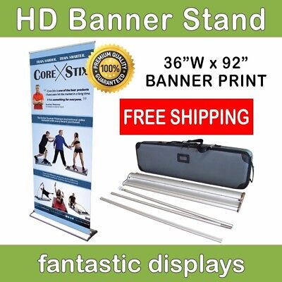 """HD Retractable Banner Stand 36"""" Pro Line Up with Print for Trade Show Exhibits"""