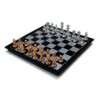 CHESS BOARD Set Magnetic Chessmen Gold Silver Portable Foldable Light Travel New