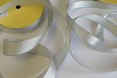 3 metres high quality GRACE SILVER double face metallic ribbon - various widths