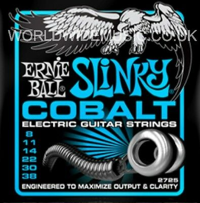1 Set of Ernie Ball Extra Slinky Cobalt 8 - 38 Electric Guitar Strings (2725)