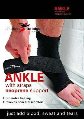 PRECISION TRAINING - Ankle Neoprene Support with Straps - Black - Sport - Injury