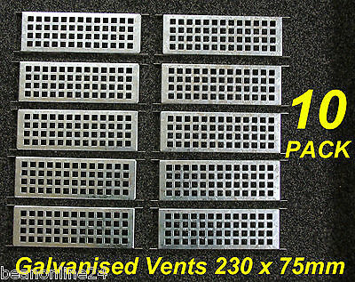 10 Pack Galvanised Metal Brick Air Vents Grilles 230 x 75mm