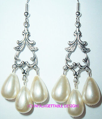 Gothic Celtic Silver & Triple Pearl Drop Earrings Ren Sca