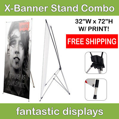 32x72 X-Shaped Banner Stand with Print Included