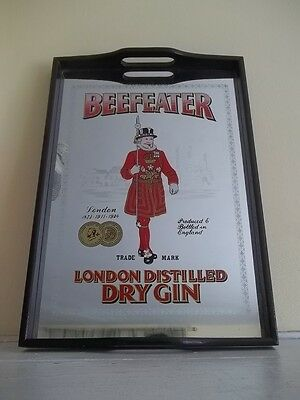 Vintage Beefeater London Distilled Dry Gin Mirrored Black Wooden Handled Tray
