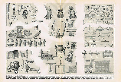 Egyptian Antiquities-Headdress-Jewelry-Vase-Lamps-Chariot-Footstool-1894 Litho