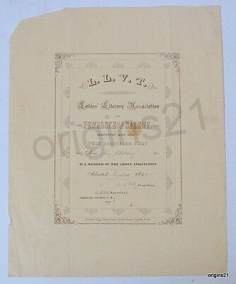 1849 L.L.V.T. Ladies Literary Association of Pembroke Academy NH certificate