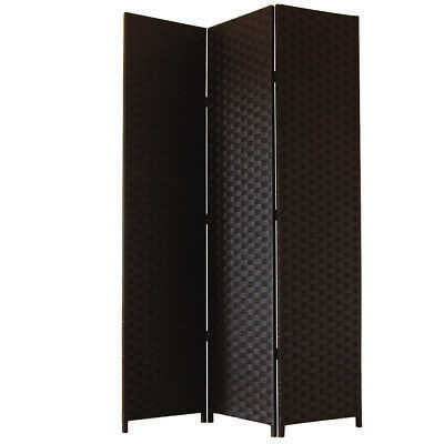 JVL Free standing 1.72m High Folding Black Woven Decorative Screen Room Divider