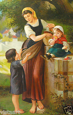 "Oil Painting On Stretched Canvas 24"" X 36""- Mother and Children"