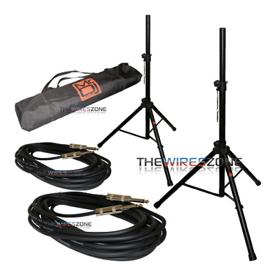 """Mr DJ SS750PKG Speaker Stands & 1/4"""" Speaker Cables (2 pairs) with Carrying Case"""