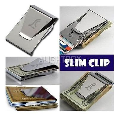 Ultra Thin Stainless Steel Money Clip Double Sided Credit Card Holder - Silver