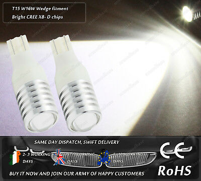 2x LED T15 W16W 501 921 Cree Xenon White Reverse Lights HID Parking Side Bulbs