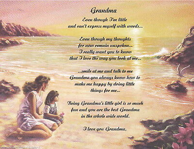 Grandmother Nana Personalized Poem Gift for Birthday, Christmas, Mother's Day