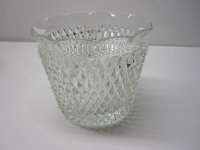 Vintage Indiana Clear Glass Diamond Point Ice Bucket