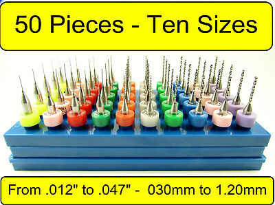 "50 Piece Carbide Drill Set - Ten Sizes .012"" - .047"" - <1/8"" Shanks> cnc AAA"
