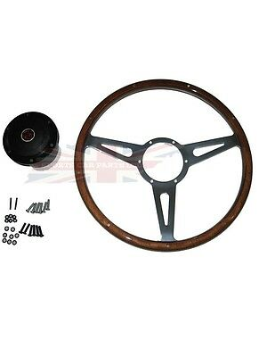 """New 15"""" Laminated Riveted Wood Steering Wheel and Adaptor for MGB 1963-1967"""