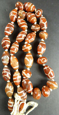 ANCIENT OLD ETCHED DECORATED CARNELIAN Bead Necklace 33 Beads Dharamshala