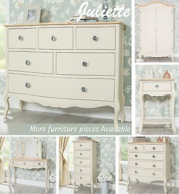 Juliette SHABBY CHIC Bedroom Furniture, Chest, Bedside Tables, Dressing Tables