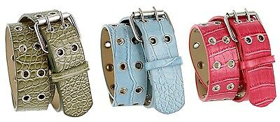 Super7 Alligator Embossed Casual two row holes roller buckle Jean Belt for Women