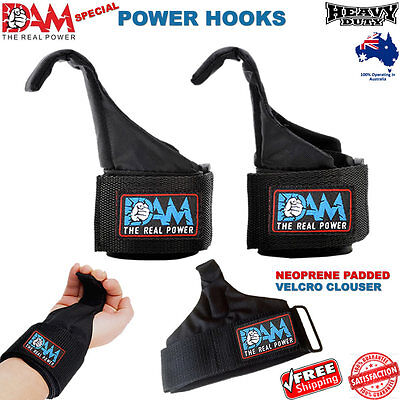 Dam Weight Lifting Power Hooks Straps Bodybuilding Small Power Chin Up Hooks New