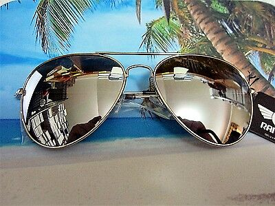 Large Aviator Sunglasses Silver Mirror Lens Men's Women's Vintage Frame Retro