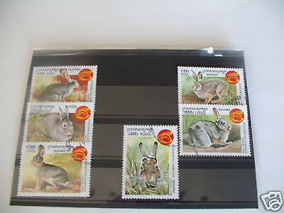 Timbres Lapins : Série Complète Du Cambodge 1999 / Complete Serie Stamps Rabbits
