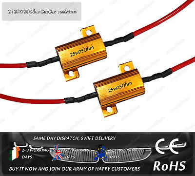 2x 25W 25Ohm Load Resistors CanBus No Error Warning Cancellers T10 Ba9s Ba15s