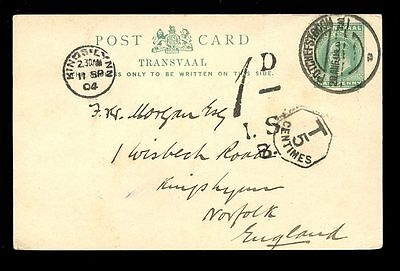 POSTAGE DUE TRANSVAAL NORFOLK 1904 STATIONERY CARD...KE7 OCTAGONAL T5c + 1d DUE